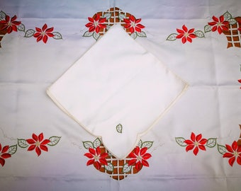LARGE Vintage Christmas Tablecloth with Matching Napkins. Large Rectangle Festive Embroidered Table Cloth. Vintage White Red Poinsettia
