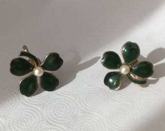Coro four-leaf clover faux pearl and enamel screwback earrings/ Coro shamrock screwback earrings