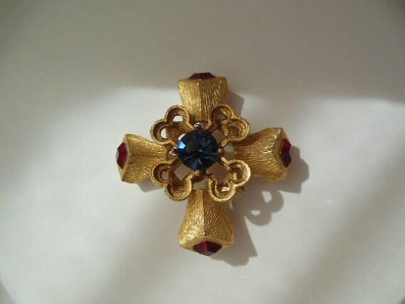 Hattie Carnegie rhinestone Maltese cross pin