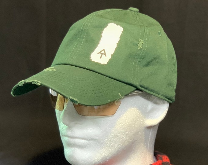 Appalachian Trail white blaze cap, blaze marker cap, AT blaze marker, hiking cap, AT blaze marker hat, distressed cap