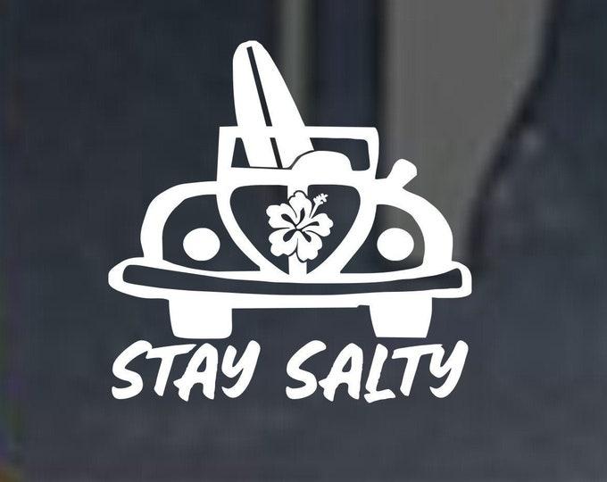 Stay Salty bug vinyl decal, Stay Salty vinyl decal, Stay Salty vinyl sticker, stay salty beach sticker, stay salty beach decal, beach decal