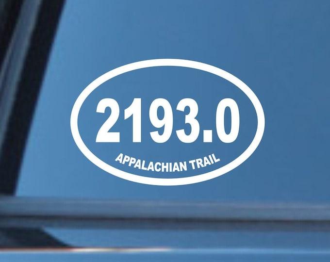2193 miles, appalachian trail 2020 mileage decal, thru hike decal, appalachian trail decal, appalachian trail thru hike sticker, AT mileage