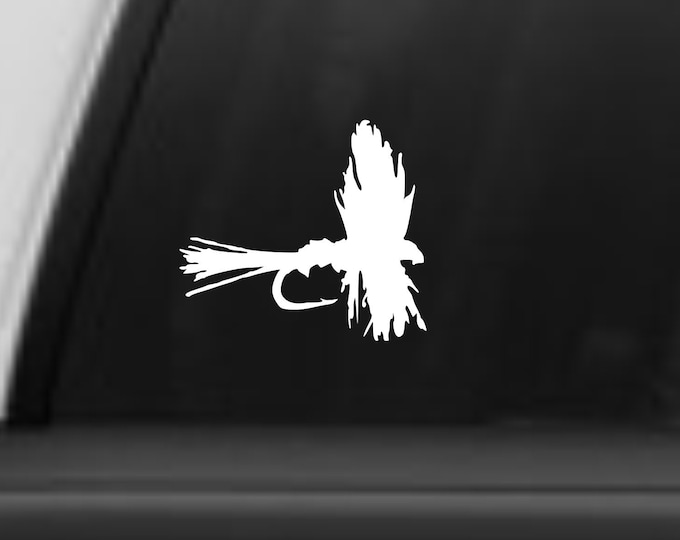 Fly decal for anglers, Fly fishermen decal, Fly sticker, Trout fish decal, Fly fishing sticker, River decal, Trout fishing, Free Shipping!!
