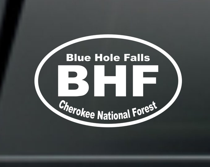 Blue Hole Falls vinyl decal, blue hole falls sticker, blue hole falls, blue hole falls tennessee, blue hole decal, blue hole falls car decal