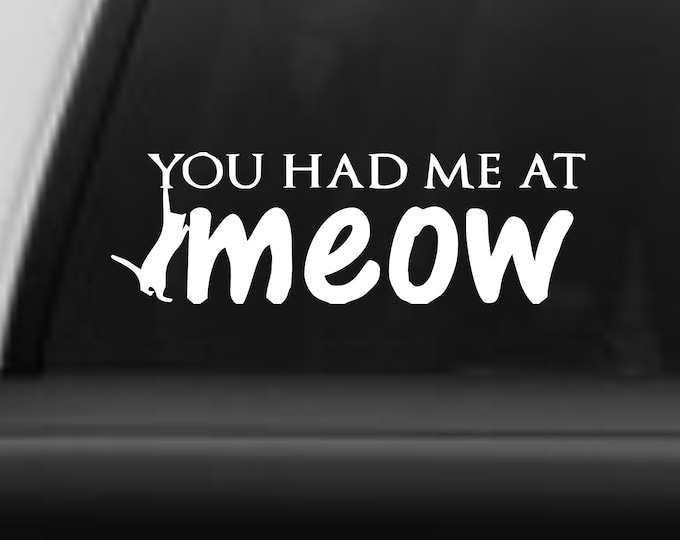Vinyl decal You had me at meow, cat lover decal, cat lover sticker, you had me at meow decal, you had me at meow sticker, cat sticker, cat