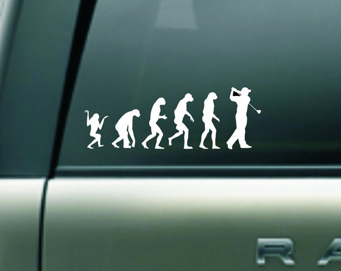 Evolution of a golfer vinyl decal, golf decal, golf sticker, evolution golf decal, evolution golf sticker, golf decal sticker, golf gear