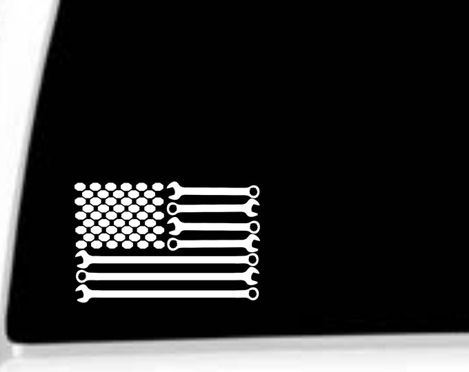 Mechanics flag vinyl decal, Mechanics flag decal, Mechanic flag sticker, Wrenches and nuts flag decal, Mechanic decals, Mechanic stickers