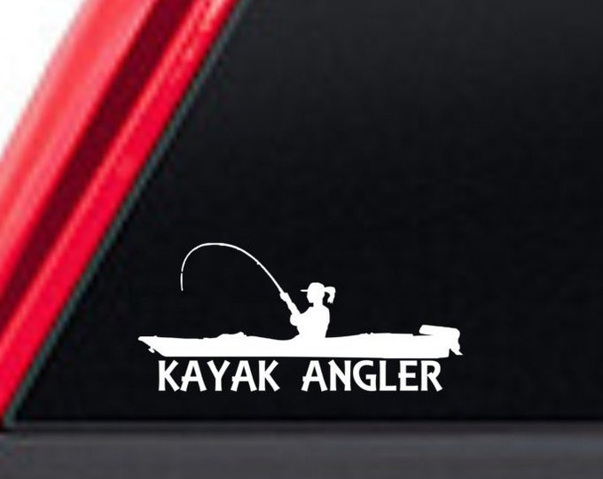 Female kayak angler decal, female kayak angler, kayak angler, girl kayak fishing, fish like a girl, woman kayak anger, female kayak fishing