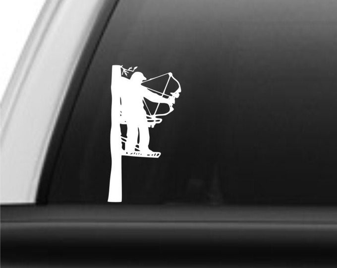 Bowhunter decal, bowhunter sticker, deer hunter decal, deer hunter sticker, treestand hunter decal, red arrow decal, bow decal, archery hunt