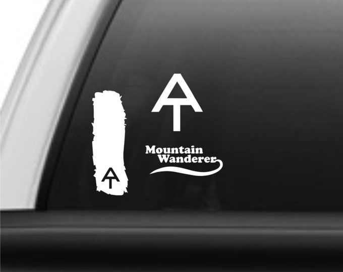 AT package deal! - 3 Appalachian Trail decals. AT blaze decal, AT logo and Mountain Wanderer. appalachian trail decals, at decals, hiker