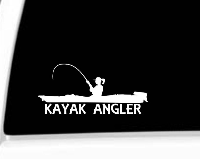 Kayak Angler female, Vinyl decal, female kayak, female kayak angler, female kayak fishing, girl kayak angler, girl kayak fishing, kayak
