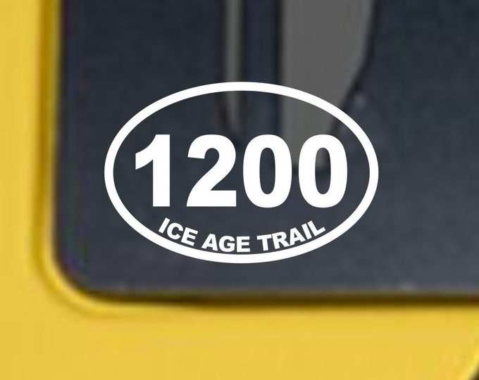Ice Age Trail 1200 oval decal, Ice Age Trail mileage decal, Ice Age Trail, Ice Age Trail oval 1200 decal, Ice Age Trail Sticker