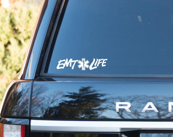 EMT Life vinyl decal, EMT Life vinyl sticker, emt sticker, emt decal, emt first responder decal, emt life, emt car decal, emt car sticker