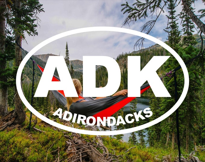 ADK Adirondacks decal, Adirondack Mountains sticker, Adirondacks vinyl decal, Adirondacks vinyl car decal, New York Mountains decal, ADK