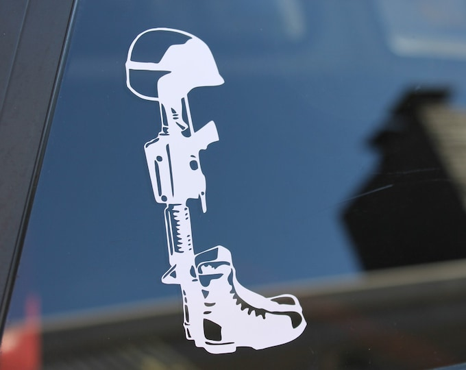Fallen soldier decal, fallen soldier sticker, soldiers cross, fallen soldier cross, helmet boots rifle decal, Free Shipping!!