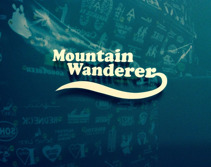 Mountain wanderer decal, hiker decal, appalachian trail decal, AT sticker, backpacker decal, hiker sticker, at sticker, Free Shipping!!