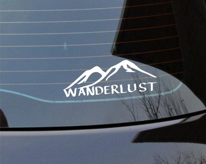 Wanderlust vinyl decal, wanderlust mountain decal, wanderlust sticker, wanderlust mountain sticker, vinyl wanderlust decal, adventure decal