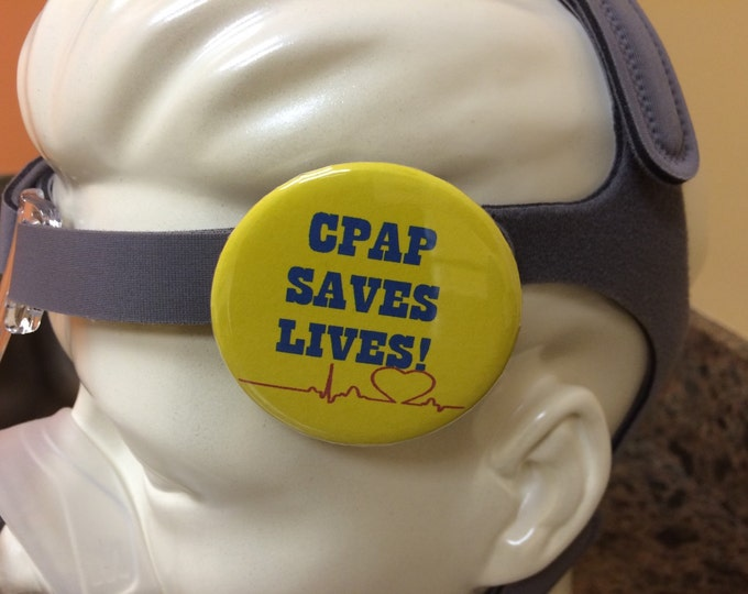 Pin-back button-CPAP saves lives, sleep apnea button, sleep tech button, sleep tech pin, sleep lab button, cpap pin