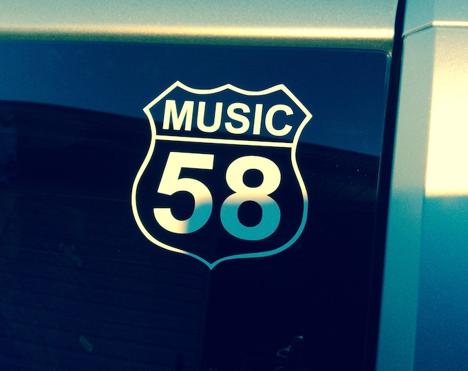 Music 58 decal, crooked road decal, Highway 58 music decal, music sticker, The Crooked Road sticker, Bluegrass sticker, music road decal