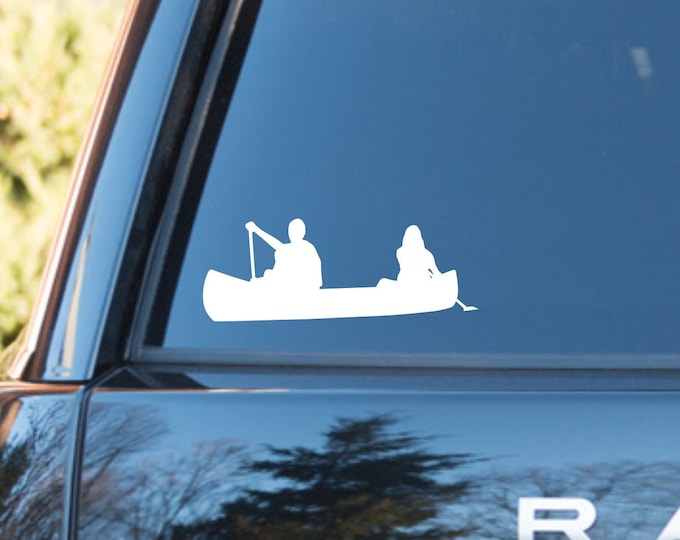 Tandem Canoe decal, canoe decal, tandem canoe sticker, canoe decal, canoe sticker, paddling tandem decal, tandem canoe decal