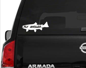 Fly Angler decal, Fly angler sticker, Fly fishing decal, fly fishing sticker, trout fishing decal, fly fishing sticker, fly fishing, trout