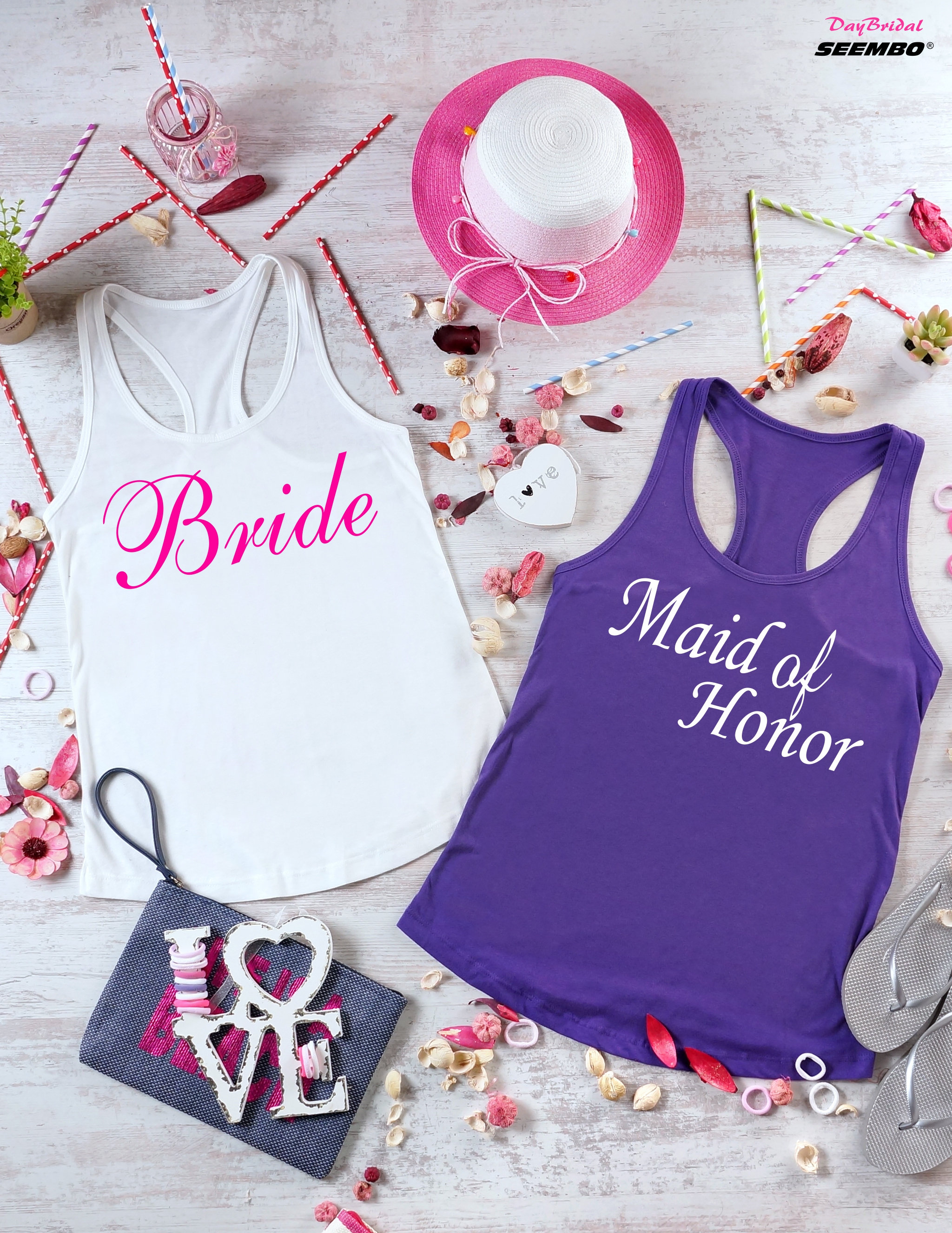 Pink Maid of Honor Women/'s Tank Top Wedding Bridal Bachelorette Party Bridesmaid
