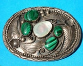 Navajo Belt Buckle Old Pawn Silver 925 Sterling hand made w Malachite Mother of Pearl inlay, Native American