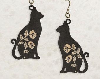 Black Cat Spirit Birch Wood Earrings