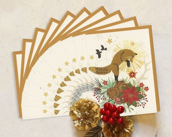Leaping Fox Holiday Boxed Set of 10 Recycled Cards
