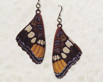 California Sister Butterfly Wing Birch Wood Earrings