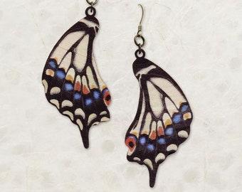 Old World Swallowtail Butterfly Wing Birch Wood Earrings
