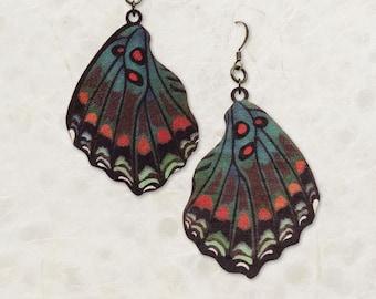White Admiral Butterfly Wing Birch Wood Earrings