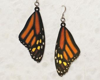 Monarch Butterfly Wing Birch Wood Earrings