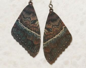 Black Witch Moth Wing Birch Wood Earrings