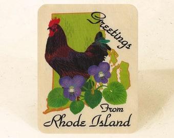 Rhode Island State Sustainable Wood Postcard
