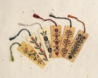 Set of Any 6 Wood Bookmarks with Tassels