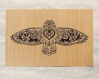 Eco-Friendly Owl Flying Cut Paper Fine Art Wood Print