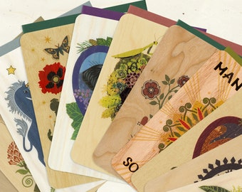 Set of Any 12 Sustainable Wood Greeting Cards