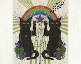 Luck Cats Wood Print Eco-Friendly Fine Art