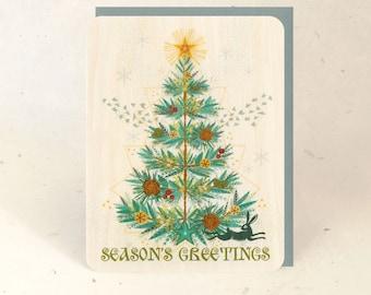 Yule Tree Sustainable Wood Greeting Card