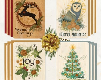 Set of 12 Wood Yule Greeting Cards Eco-Friendly Fine Art