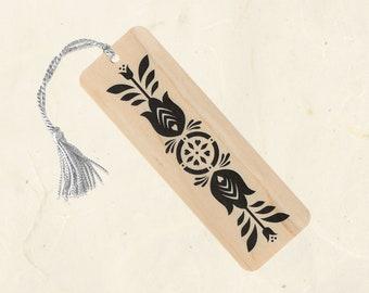 Black Tulips Wood Bookmark with Tassel Eco-Friendly Fine Art