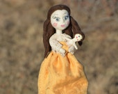 Art doll Sarah a little princess, needle felted art doll with mini me clay doll, mother daughter gift set, victorian little girl with doll.