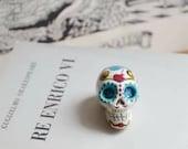 Day of the Dead sugar skull paper clay Decor, Halloweenparty  folk goth Decor, floral mexican calavera, spooky dollhouse minature cranium.