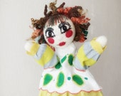 Carnival hand puppet , made on custom request, needle felted doll glove, story telling puppets for story teller teachers, one of a kind OOAK