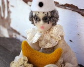 Pierrot and the moon, marionette art doll, needle felted circus ooak poseable puppet, whimsical carnival doll, vintage style romantic doll