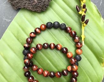 Red Tiger Eye and Lava Rock Diffuser Bracelet