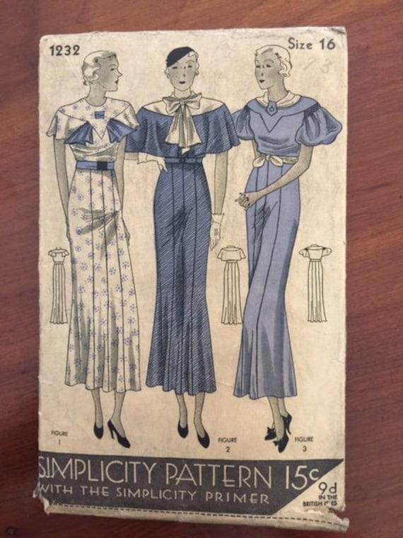 1920 Vintage Simplicity Flapper Day Dress Pattern