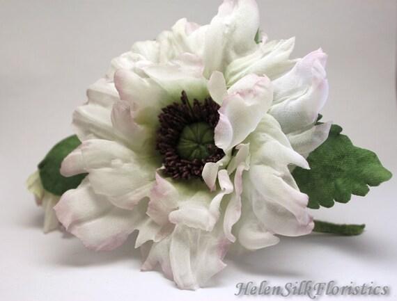 White Poppy flower accessory flower brooch silk Poppy