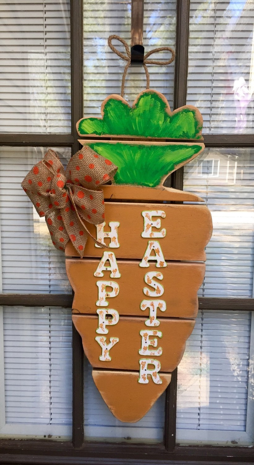 Pallet and barn wood rustic carrot door hanger with bow   Etsy